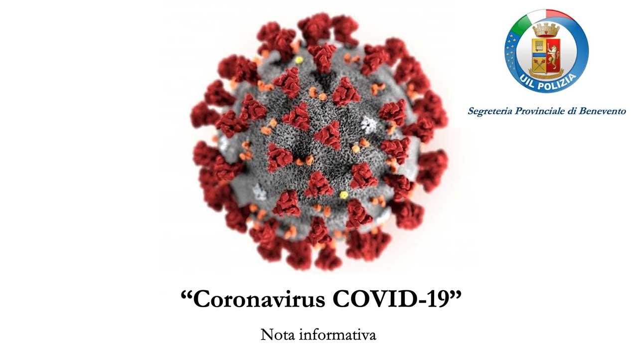 """Photo of """"Coronavirus COVID-19"""" Nota informativa a cura della Segreteria Provinciale della UIL Polizia di Benevento"""